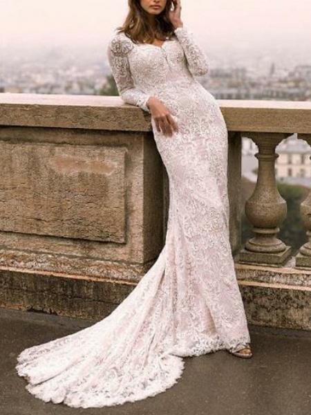 Sheath \ Column V Neck Sweep \ Brush Train Lace Tulle Long Sleeve Boho Plus Size Illusion Sleeve Wedding Dresses_1