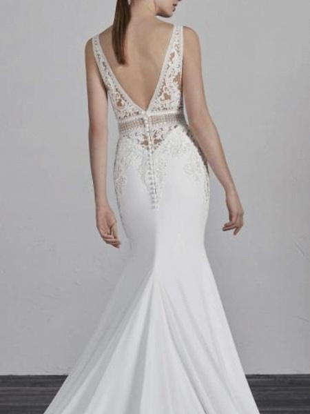 Mermaid \ Trumpet Wedding Dresses V Neck Court Train Satin Spaghetti Strap_2