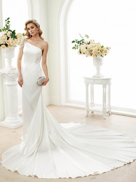 Mermaid \ Trumpet Wedding Dresses One Shoulder Sweep \ Brush Train Stretch Satin Regular Straps Simple Sexy Modern Elegant_4
