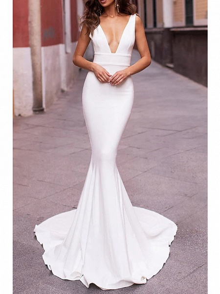 Mermaid \ Trumpet Wedding Dresses Plunging Neck Sweep \ Brush Train Stretch Satin Sleeveless Sexy Plus Size_1