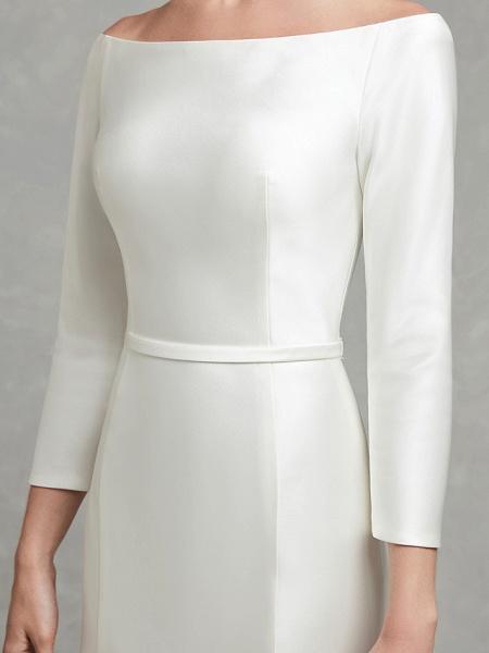 Mermaid \ Trumpet Wedding Dresses Bateau Neck Chapel Train Satin Long Sleeve Formal Little White Dress_9