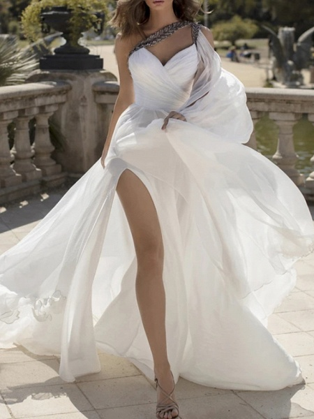 A-Line Wedding Dresses One Shoulder V Neck Sweep \ Brush Train Chiffon Sleeveless Vintage Sexy Wedding Dress in Color