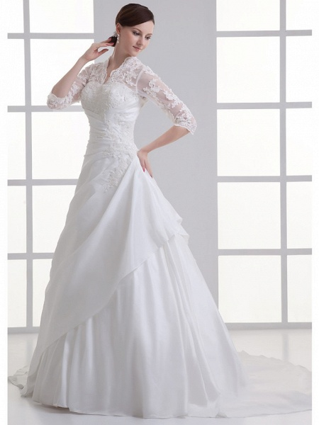 A-Line V Neck Chapel Train Lace Satin Taffeta 3\4 Length Sleeve Illusion Sleeve Wedding Dresses_2