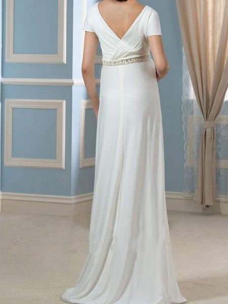 Sheath \ Column Wedding Dresses V Neck Sweep \ Brush Train Chiffon Cap Sleeve Simple_2
