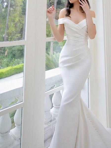 Lt8036994 White Boho Mermaid Off The Should Wedding Dress_1