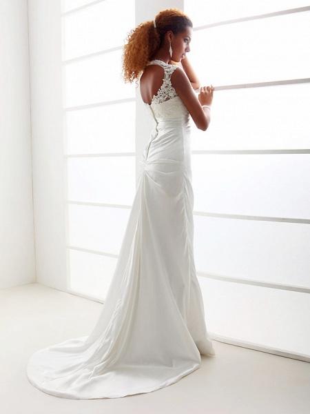 Sheath \ Column Wedding Dresses Scoop Neck Sweep \ Brush Train Charmeuse Beaded Lace Cap Sleeve Simple Backless_5