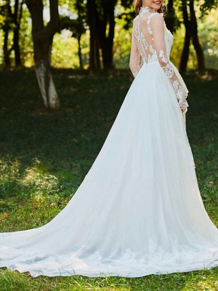 A-Line Wedding Dresses High Neck Sweep \ Brush Train Chiffon Lace Tulle Long Sleeve Romantic Sexy See-Through Backless_3