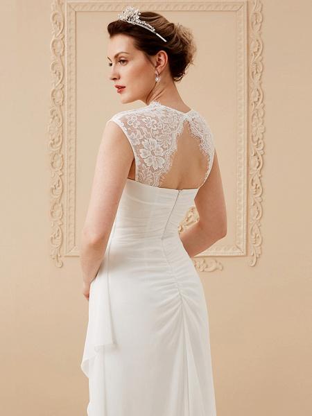 Sheath \ Column Wedding Dresses Square Neck Floor Length Chiffon Lace Cap Sleeve Simple Illusion Detail_5