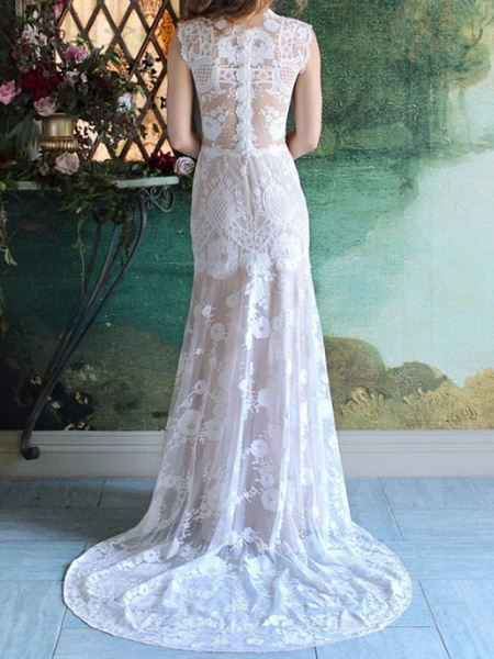 Mermaid \ Trumpet Wedding Dresses Jewel Neck Sweep \ Brush Train Lace Cap Sleeve Country_2