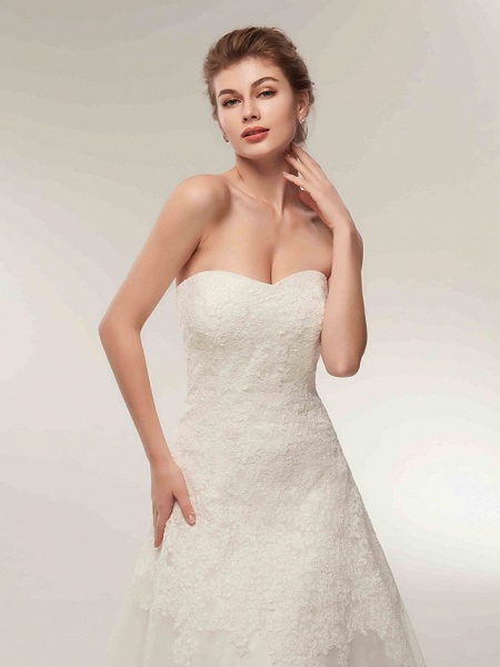 A-Line Wedding Dresses Strapless Floor Length Lace Tulle Strapless Formal Illusion Detail_7