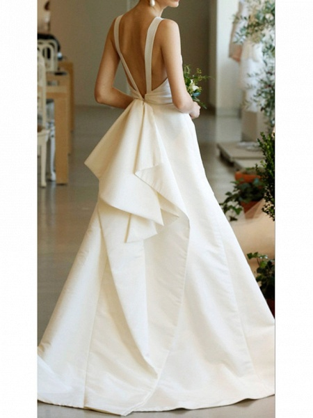 A-Line Wedding Dresses Jewel Neck Sweep \ Brush Train Satin Regular Straps Formal Plus Size_2