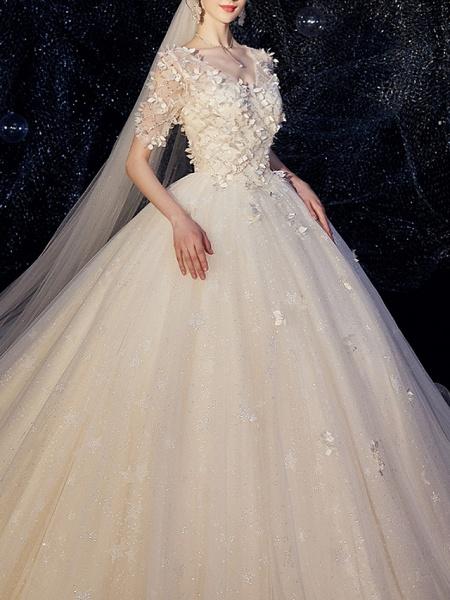 A-Line Wedding Dresses V Neck Chapel Train Lace Half Sleeve_1