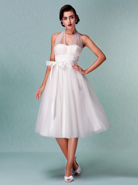 A-Line Wedding Dresses Halter Neck Knee Length Satin Tulle Regular Straps Casual Vintage Little White Dress Plus Size_2