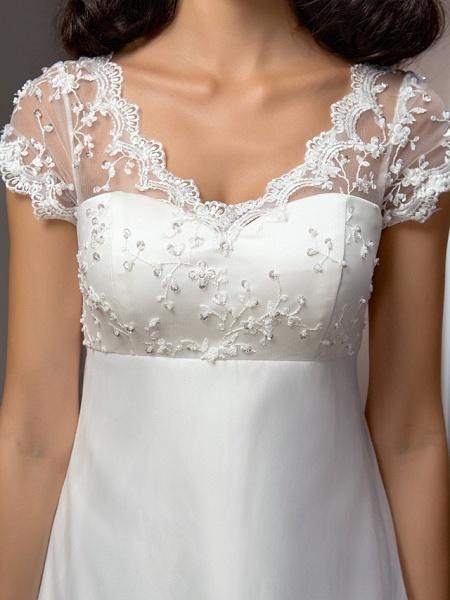 A-Line Wedding Dresses V Neck Court Train Lace Organza Short Sleeve Simple Vintage Little White Dress_7