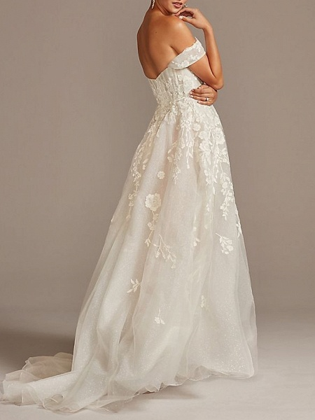 A-Line Wedding Dresses Off Shoulder Sweep \ Brush Train Tulle Short Sleeve Romantic Illusion Detail_2