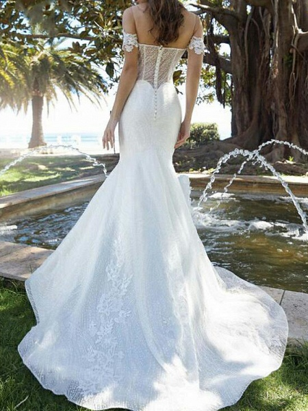 Mermaid \ Trumpet Off Shoulder Strapless Sweep \ Brush Train Lace Tulle Short Sleeve Romantic Wedding Dresses_2