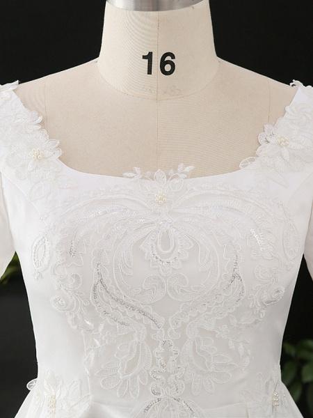 A-Line Wedding Dresses Scoop Neck Floor Length Satin Half Sleeve Formal Elegant_4