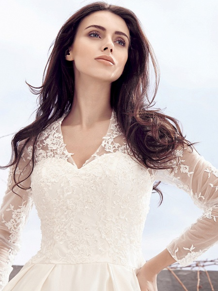 A-Line V Neck Chapel Train Lace Over Satin Long Sleeve Vintage Illusion Sleeve Wedding Dresses_6