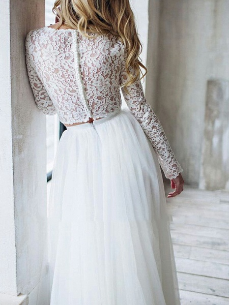 A-Line Wedding Dresses Jewel Neck Sweep \ Brush Train Lace Long Sleeve Romantic Boho See-Through Illusion Detail Backless_5