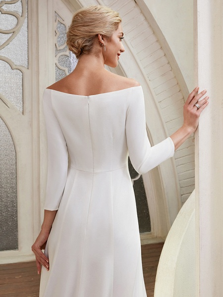 A-Line Wedding Dresses Bateau Neck Chapel Train Satin 3\4 Length Sleeve Elegant_10