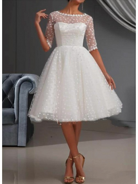 A-Line Wedding Dresses Jewel Neck Knee Length Lace Tulle Short Sleeve Casual Vintage See-Through Cute Illusion Sleeve_1