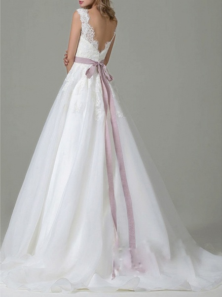 A-Line Wedding Dresses V Neck Sweep \ Brush Train Tulle Regular Straps Vintage Backless_2