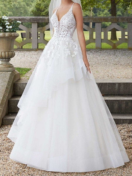 A-Line Spaghetti Strap Court Train Polyester Sleeveless Country Plus Size Wedding Dresses_1