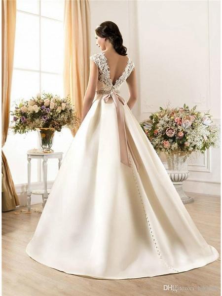 A-Line Wedding Dresses Bateau Neck Court Train Lace Chiffon Over Satin Regular Straps Vintage Backless_2