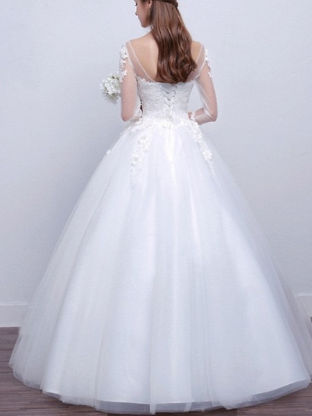 Ball Gown Wedding Dresses V Neck Sweep \ Brush Train Lace Satin Tulle Long Sleeve Formal_2