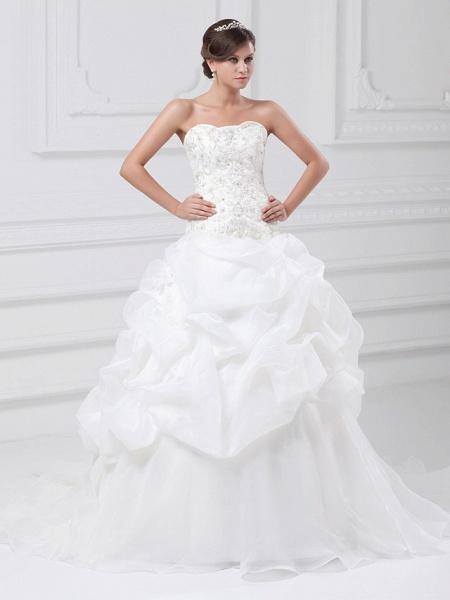 Ball Gown Sweetheart Neckline Chapel Train Organza Satin Strapless Wedding Dresses_1