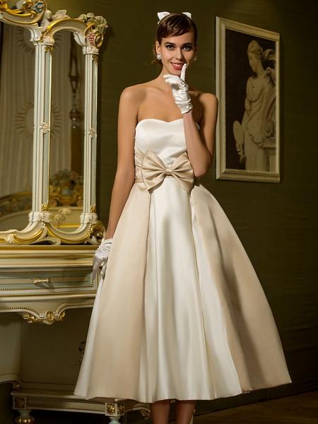 A-Line Wedding Dresses Sweetheart Neckline Tea Length Satin Strapless Casual Vintage Little White Dress Plus Size_6