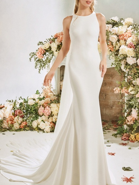 Mermaid \ Trumpet Wedding Dresses Jewel Neck Court Train Stretch Satin Sleeveless Vintage Sexy Wedding Dress in Color See-Through Backless_3