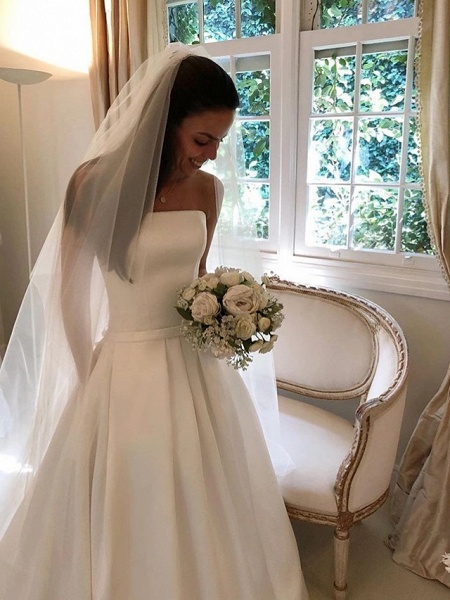 A-Line Wedding Dresses Strapless Court Train Polyester Strapless Sexy Plus Size_2