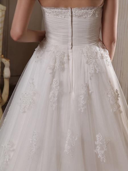Princess A-Line Strapless Scalloped-Edge Chapel Train Satin Tulle Sleeveless Wedding Dresses_8