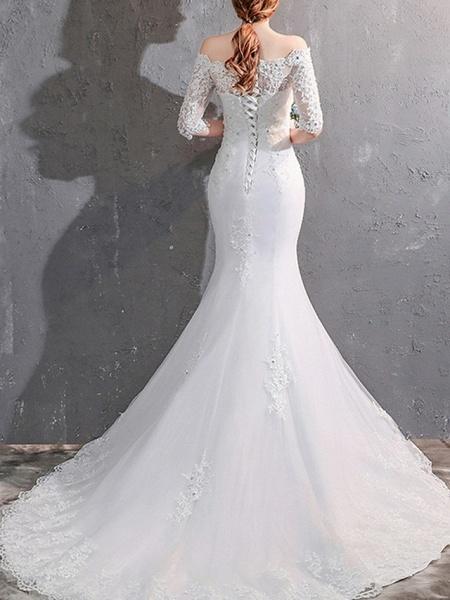 Mermaid \ Trumpet Wedding Dresses Off Shoulder Sweep \ Brush Train Lace Half Sleeve Beach Illusion Sleeve_2