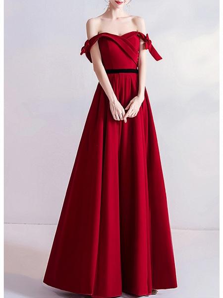 A-Line Wedding Dresses Off Shoulder Floor Length Satin Cap Sleeve Romantic Plus Size Red_2