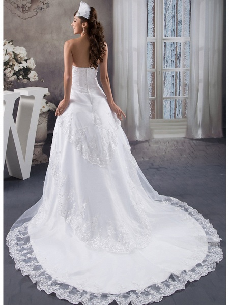 A-Line Strapless Chapel Train Lace Organza Satin Strapless Wedding Dresses_3
