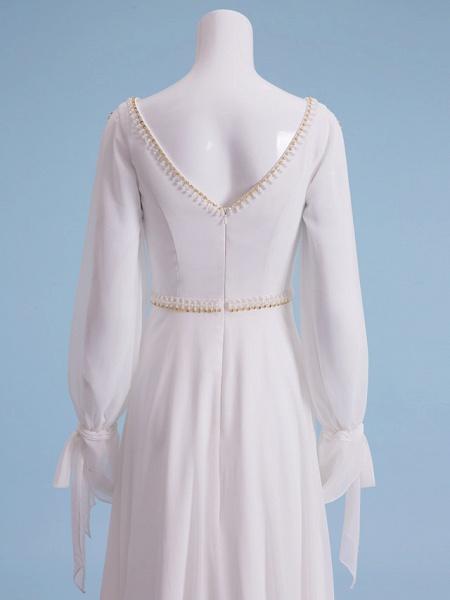 Sheath \ Column Wedding Dresses V Neck Court Train Chiffon Long Sleeve_8