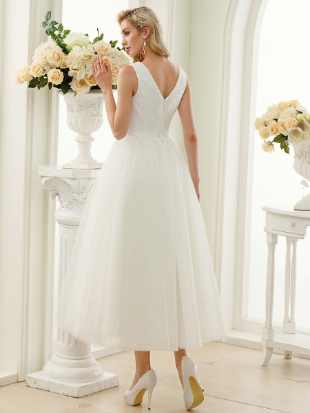 A-Line Wedding Dresses Bateau Neck Tea Length Tulle Sequined Regular Straps Simple Little White Dress_2