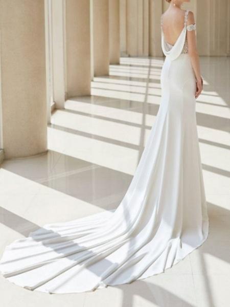 A-Line Wedding Dresses V Neck Court Train Chiffon Lace Regular Straps Formal Plus Size_3