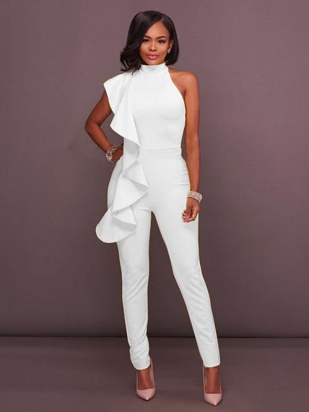 Women's Basic Halter Neck Yellow Royal Blue White Jumpsuit_5