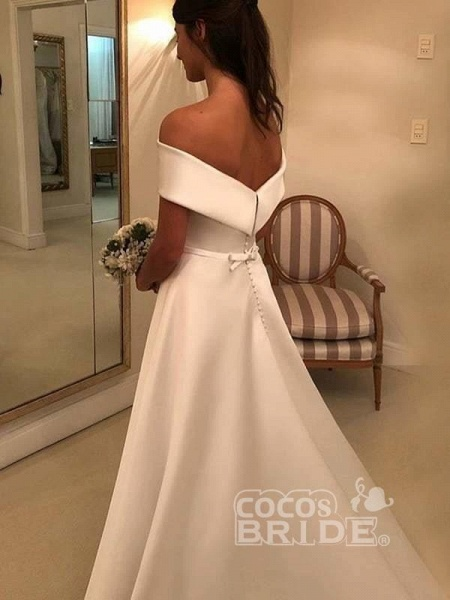Simple A Line Wedding Dresses Satin Off The Shoulder Wedding Dress_4
