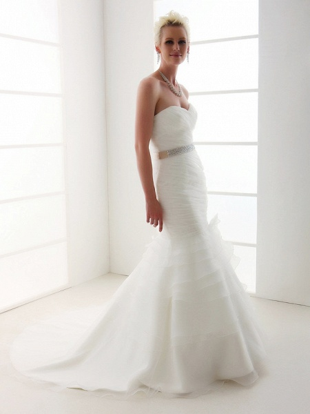 Mermaid \ Trumpet Wedding Dresses Sweetheart Neckline Court Train Organza Satin Sleeveless_6