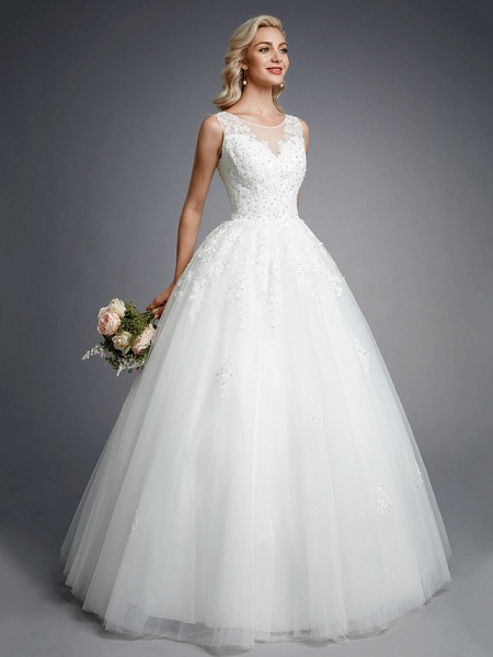 Ball Gown Wedding Dresses Jewel Neck Floor Length Lace Tulle Regular Straps Formal Casual Illusion Detail Backless_3