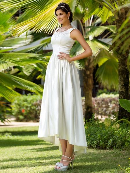 Princess A-Line Wedding Dresses Scoop Neck Asymmetrical Satin Sleeveless_4