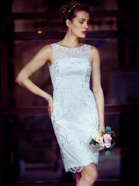 Sheath \ Column Wedding Dresses Bateau Neck Knee Length Metallic Lace Sleeveless Little White Dress See-Through_5