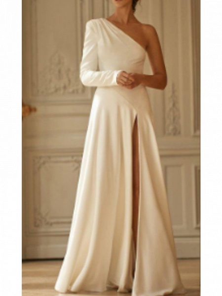 A-Line Wedding Dresses One Shoulder Sweep \ Brush Train Stretch Satin Long Sleeve Simple Modern_1