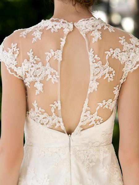 A-Line Sheath \ Column Wedding Dresses Jewel Neck Knee Length Floral Lace Cap Sleeve Vintage Little White Dress Illusion Detail Backless_8