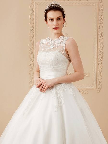 A-Line Wedding Dresses High Neck Ankle Length Lace Over Tulle Regular Straps Vintage Little White Dress Illusion Detail_13