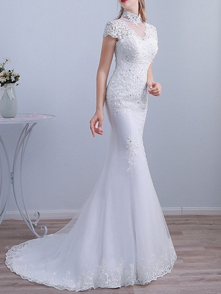 Mermaid \ Trumpet Wedding Dresses High Neck Sweep \ Brush Train Lace Short Sleeve Beach_2